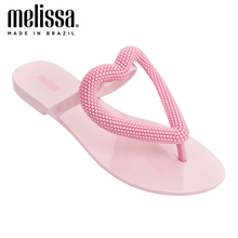 Melissa Big Heart Women Jelly Shoes Flip Flop 2020 New Women Flat Slippers Jelly
