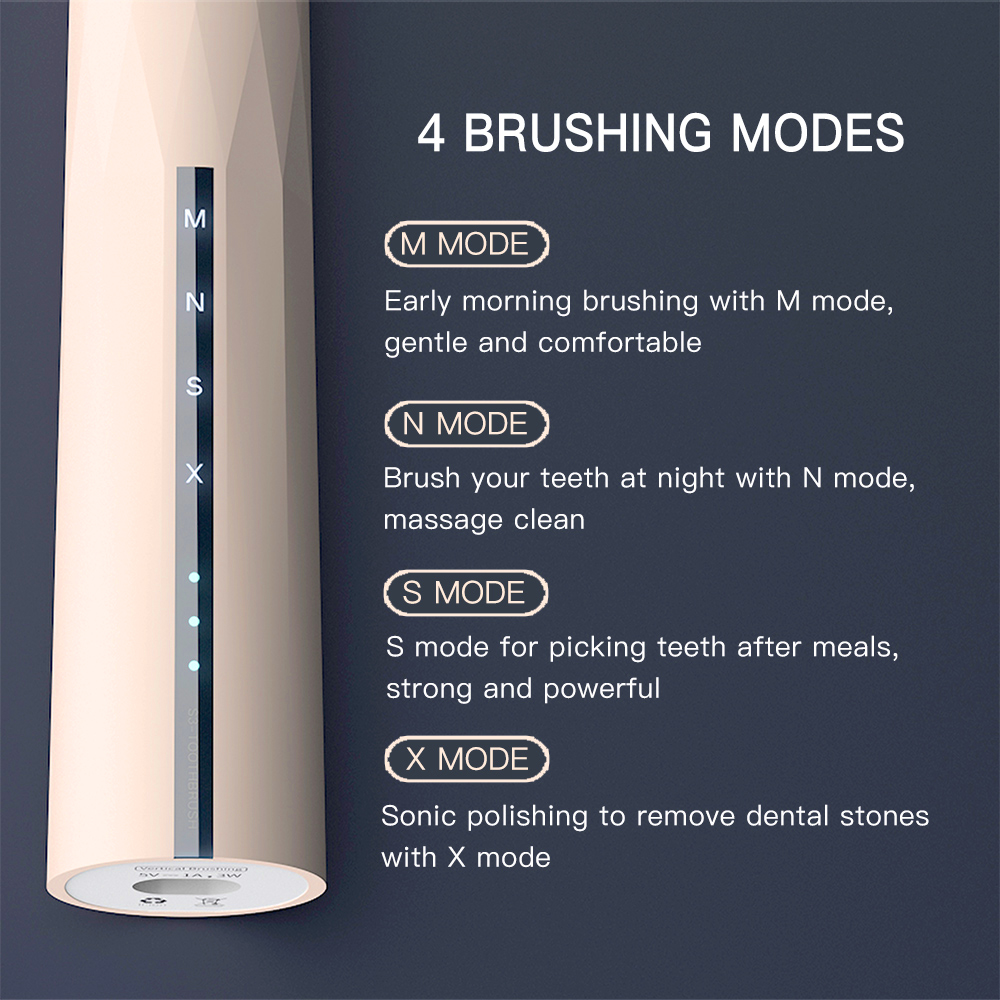 Hot 4 Modes Sonic Electric Toothbrush USB Rechargeable Ultra Sonic Teeth Brush Waterproof Tooth Whitening for Adults + 4 Heads