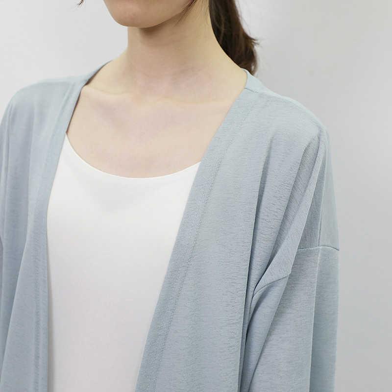 เปิดตะเข็บยาวสีทึบ Cape Shawl แจ็คเก็ตฤดูร้อนฤดูใบไม้ผลิผู้หญิงเสื้อ Leisure ครีมกันแดดเสื้อกันหนาว