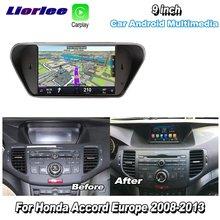 車ラジオマルチメディアプレーヤーホンダアコード8ヨーロッパ2008 2013アンドロイドビデオオーディオcarplay gpsナビマップナビ