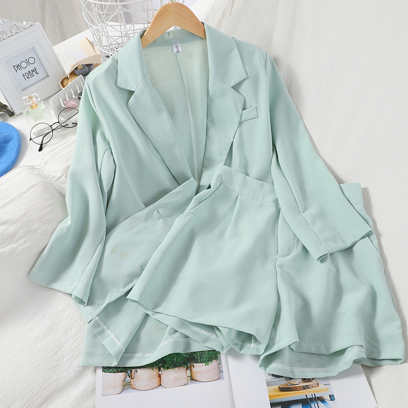 Fashion Wild Pocket Solid Color Suit Sunscreen Jacket + High Waist Was Thin And Simple Wide Leg Shorts Two-piece Suit Female