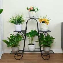 6 слоев Цветочная Стойка Металлическая Подставка для цветов комнатные полки для растений многоэтажная Подставка под растения напольная металлическая полка для балкона