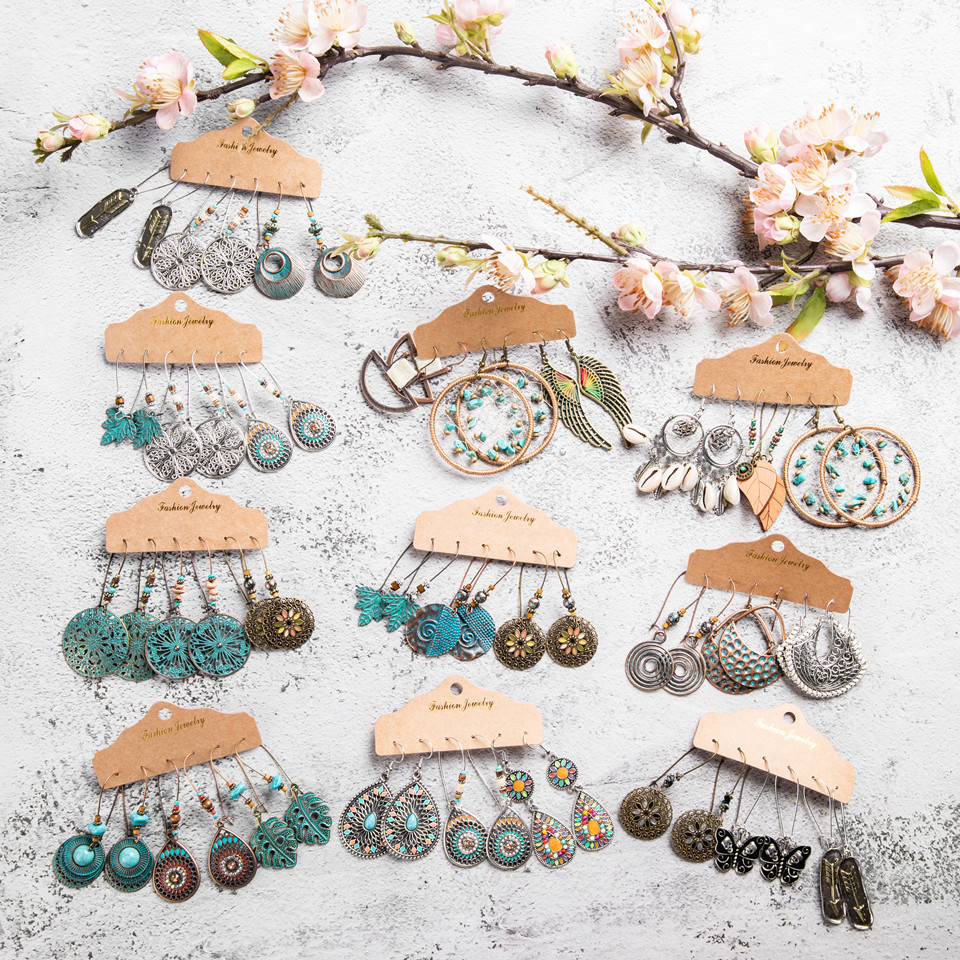 Multiple Boho Ethnic Dangle Drop Earrings For Women Female Fashion 2019 Women's Earrings Sets Ornament Charm Jewelry Accessories