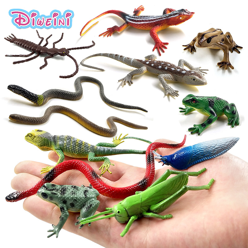 12pcs Frog Insect Snake Lizard Ant Farm Animal Fun Model Action Figure Christmas Gift For Kids Educational Children's Garden Toy