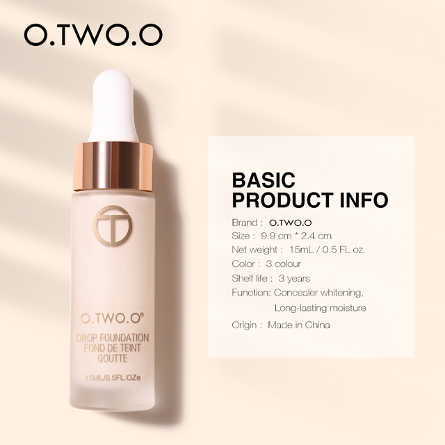 O.TWO.O Liquid Foundation Professional Makeup Base  Oil Free Full Coverage Concealer Long Lasting Liquid Foundation Cosmetics 3