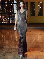 AE682 Evening Dress Women Party Dresses 2019 Double V neck Robe De Soiree Sleeveless Sequin Formal Party Dresses