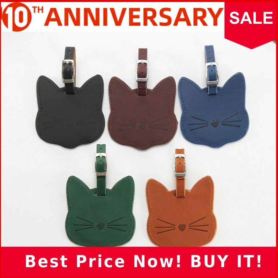 Zoukane Lovely Cat Leather Suitcase Luggage Tag Label Bag Pendant Handbag Travel Accessories Name ID Address Tags LT12