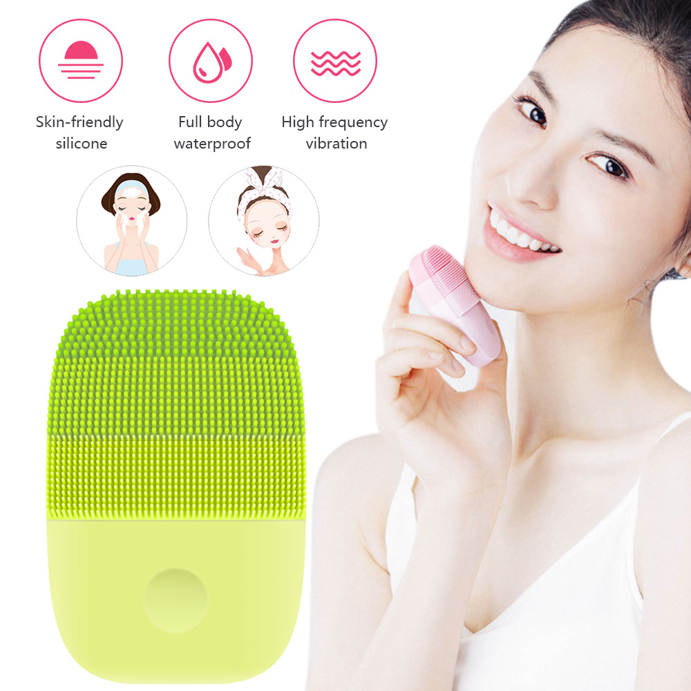 Sonic Electric Facial Cleaning Brush  Smart Waterproof Silicone Massage Wash Face Care Cleaner Rechargeable