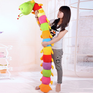 50CM Colorful Long Cognitive Plush Worm Stuffed Doll Toys Soft Worm Cushion Educational Gift for Birthday Kids