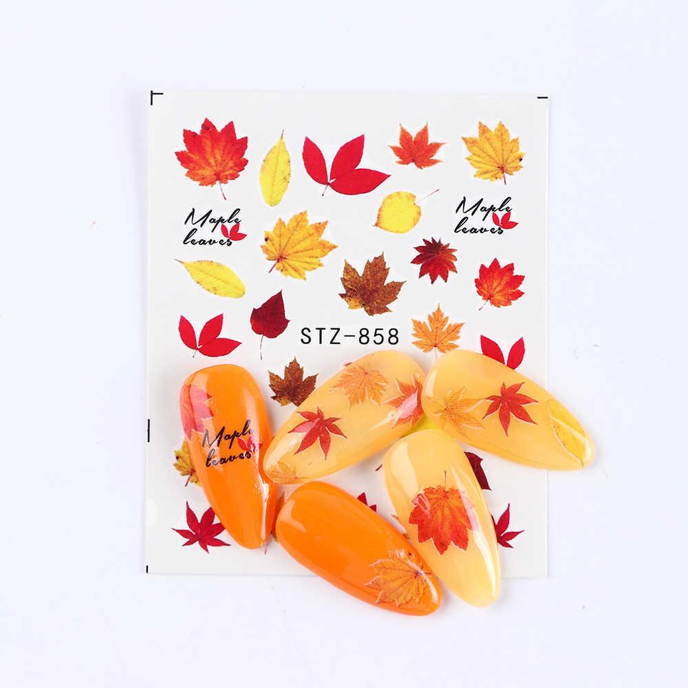 Air Kuku Seni Decal Stiker Kartun Kucing Daun Maple Surat Rusia Dekorasi Halloween Manikur Transfer Kuku Slider SASTZ856-879