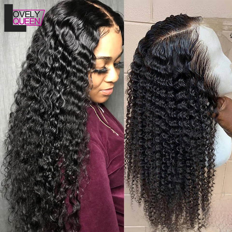 Deep Wave Wig Human Hair 150 Density 13x4 Lace Front Wig Brazilian Curly Wig Remy Human Hair Lace Front Human Hair Wig For Women