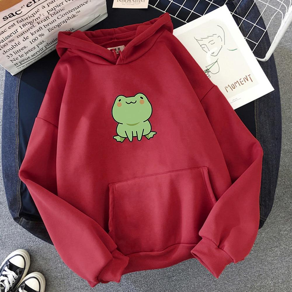 Women Hoodies Harajuku Long Sleeve sweatshirt women Cute Animal Frog Printed Hoodie Pocket Casual Pullover Loosen Tops gdragon 11