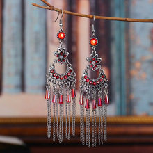 Bohemia Ethnic Dangle Earrings For Women Vintage Rhinestone Flowers Crystal Bead Chain Tassel Long Earrings Indian Jewelry vintage tassel green dangle earrings pendientes hollow out boho long resin earrings for women ethnic indian jewelry e5d065