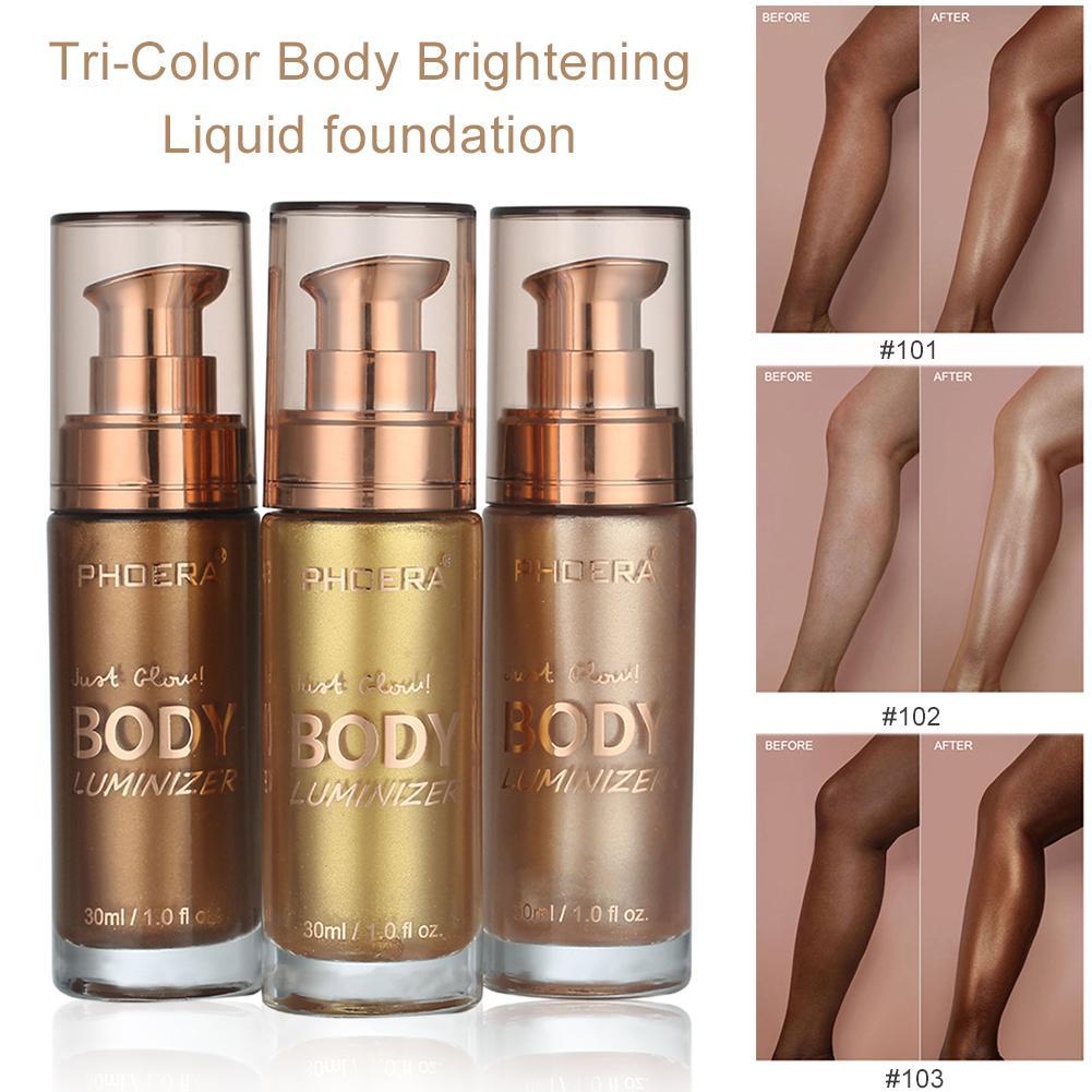 For PHOERA New Tri-Color Body Brightening Liquid Foundation Long Lasting 30ML Makeup Liquid Foundation Natural Cosmetics