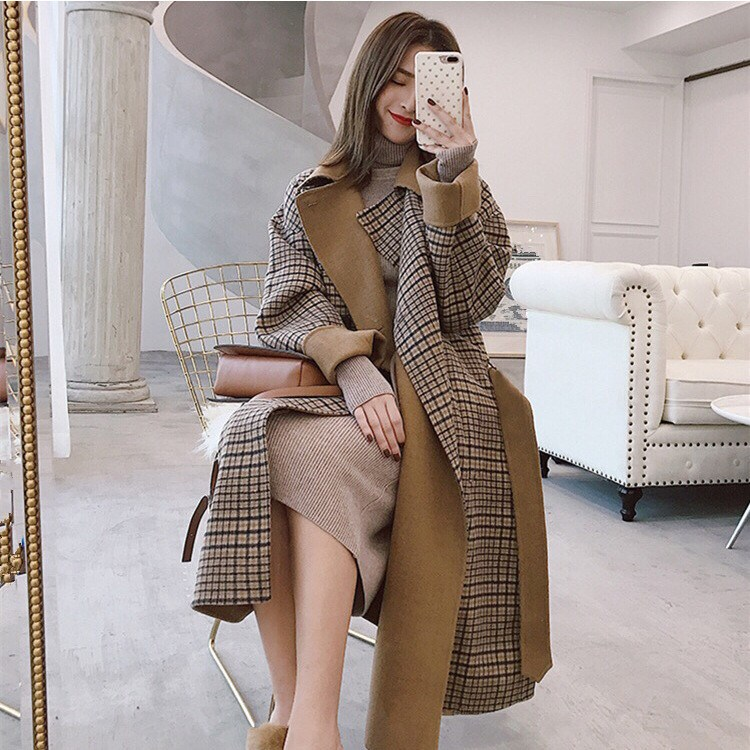 Winter Long Sleeve Wool Coat Women Europe Style Plaid Coats Large Size Ladies Autumn Slim Woolen Coats in Wool amp Blends from Women 39 s Clothing