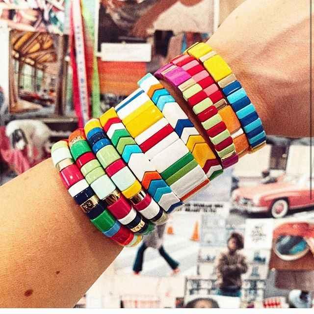 Flatfoosie New Arrival emalia bransoletki dla kobiet płytki układanie bransoletka Multicolor Rainbow elastyczność bransoletki Femme 2019 biżuteria