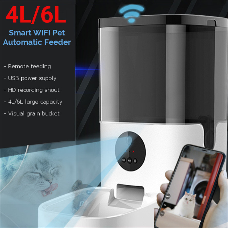 4L/6L Large Automatic Pet Feeder Smart Voice Recorder APP Control Timer Feeding Cat Dog Food Dispenser WiFi/Video Version