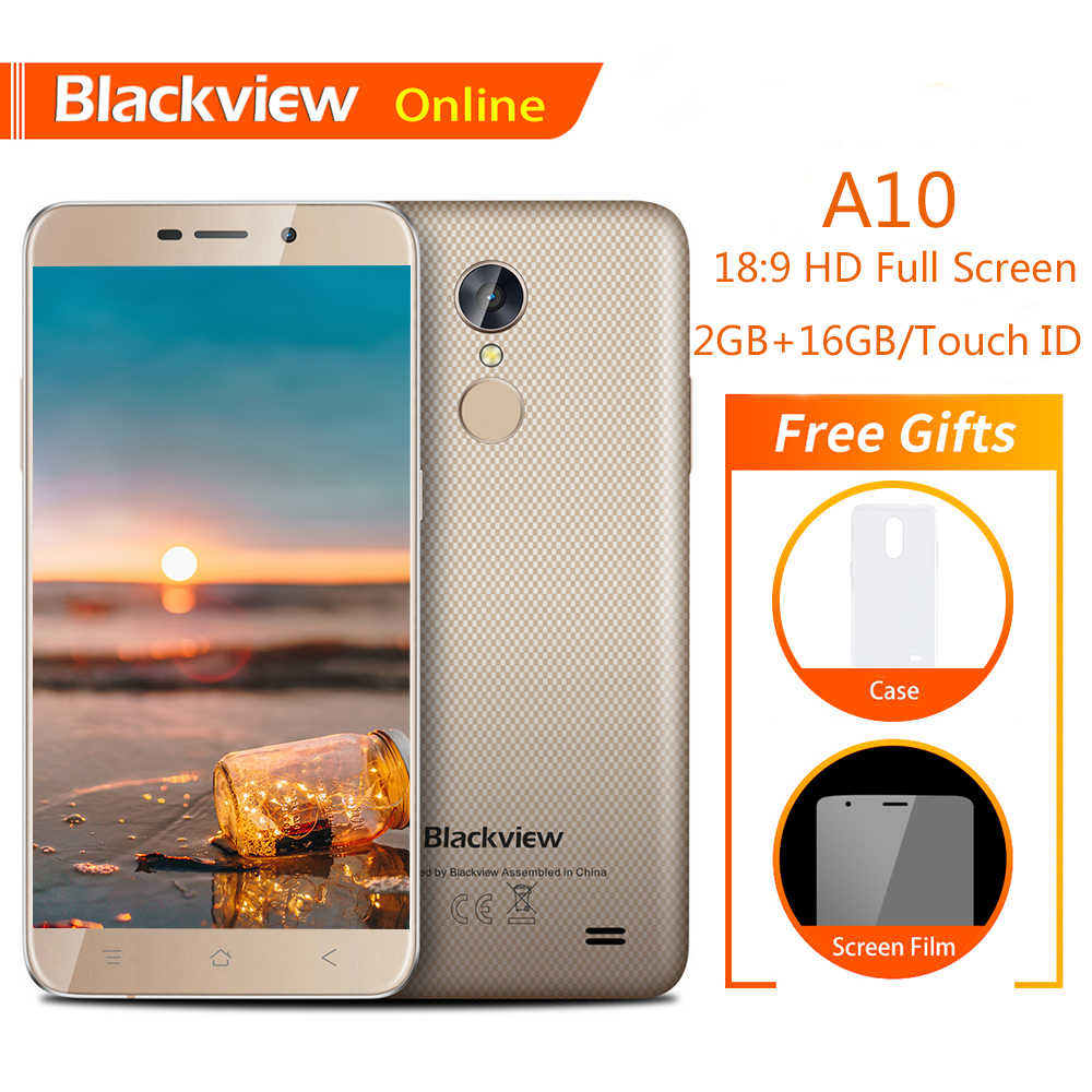 "Blackview A10 Original 5.0 ""téléphone portable HD 18:9 2GB + 16GB Android 7.0 Quad Core empreinte digitale ID 2800mAh 3G Smartphone Ultra-mince"