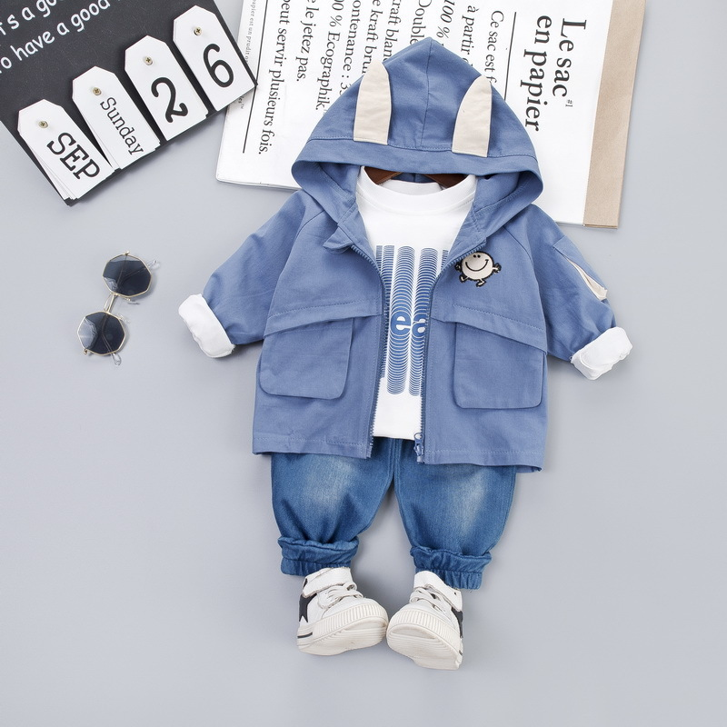 2019 Autumn Toddler Boys Grils Clothing Sets Baby Clothes Suits Infant Hooded Coats T Shirt Jeans 3Pcs Kids Child Casual Costume