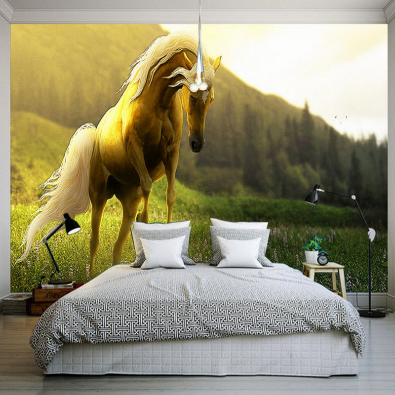 Drop Shipping Wallpaper For Walls 3 D Spectacular Horse Landscape Wall Wallpaper Guest Room Office Balcony Decoration Mural