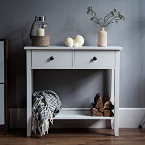 Whtie Console Table Living Room Hall Way Telephone Table Stylish Modern Two Drawer with Shelf Bottom