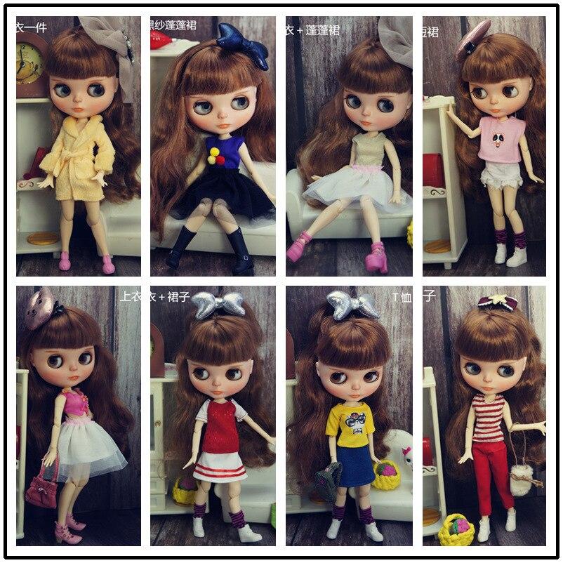 Кукла Blythy, одежда ручной работы для 1/6, кукольные наряды, модная кукольная одежда для куклы Blyth, топы для детей, игрушка 1/6, милый комплект одеж...