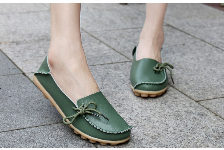 AH 911-2019 Spring Autumn Genuine Leather Women Loafers Walking Mother Flats-1