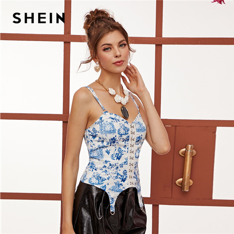 SHEIN Blue Hook and Eye Floral and Figure Print Cami Top Women Tops Spring Summer Ring Detail Spaghetti Strap Elegant Vests 2