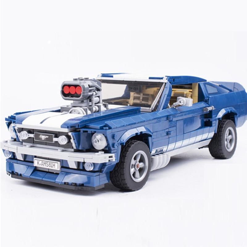 MOC Creator Expert Technic Retro 1960s Ford Mustang GT Sports Car Building Blocks Kit Bricks Sets Classic Model Toys Gifts