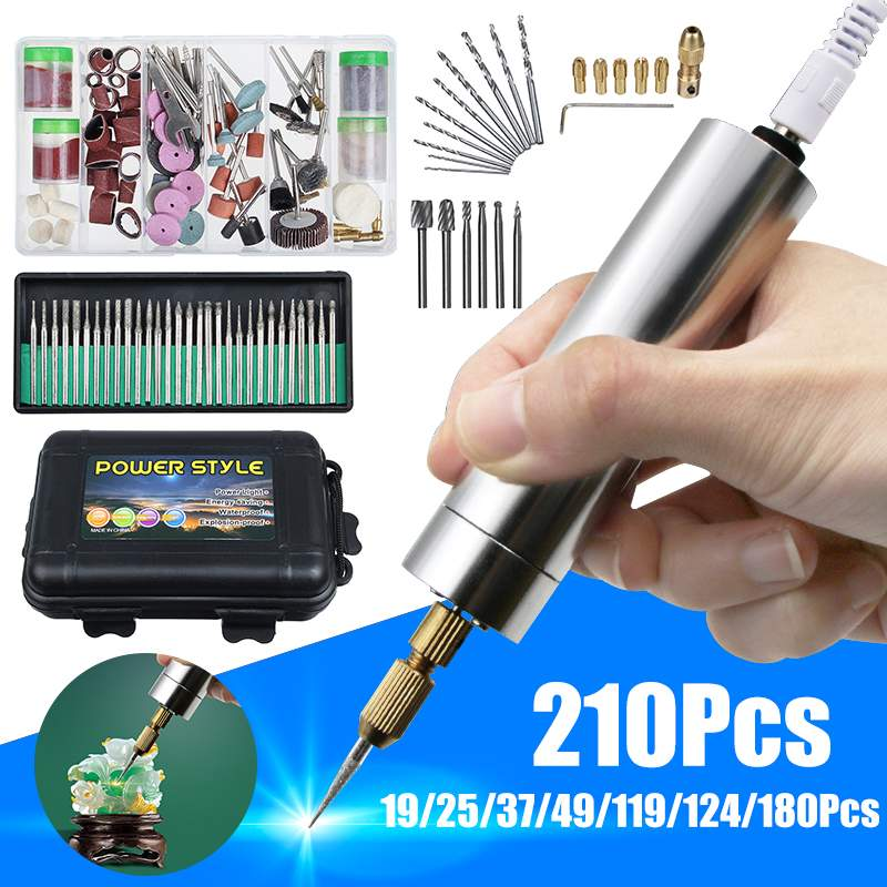 USB DIY Mini Electric Grinder Set Handle Small Size Grinding Machine Carving Engraving Pen Trimming Milling Polishing Tool Kit