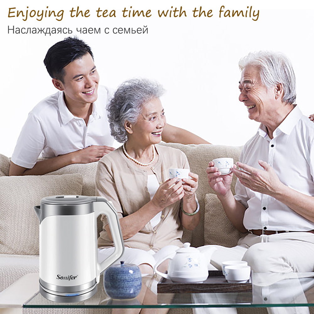 2.0L 220V Electric Kettle 304 Stainless Steel Cordless 1500W Household Kitchen Quick Heating Electric Boiling Tea Pot Sonifer