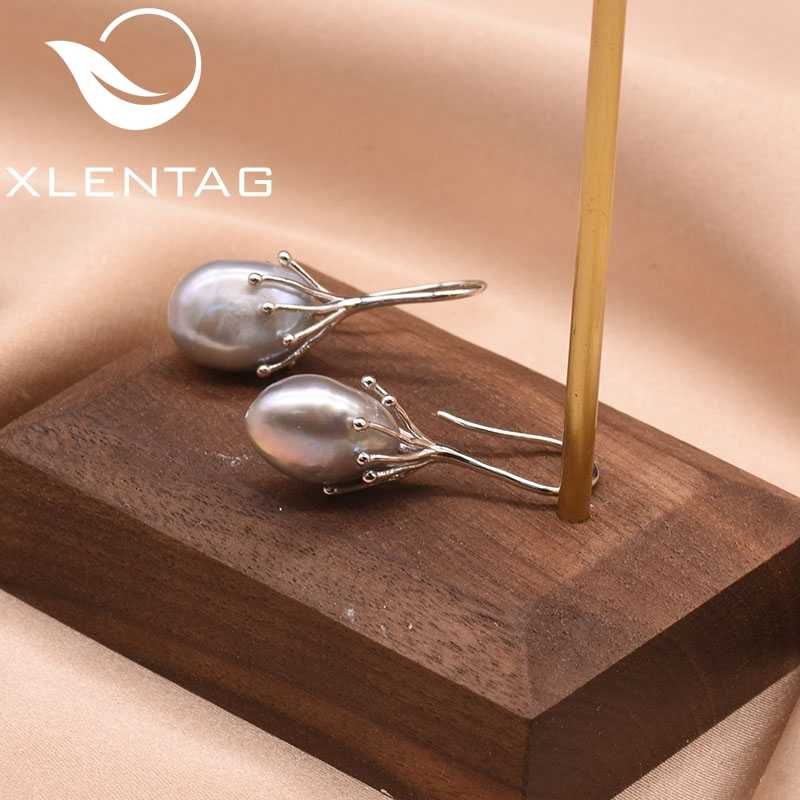 XlentAg טבעי טרי מים הבארוק אפור פנינה בעבודת יד עגילי וו עבור נשים יוקרה תכשיטי Oorbellen Voor Vrouwen GE0335B
