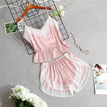 2 Piece Set Women's Silk Pajama Sets Lace Patchwork Camis Tops+Shorts Female Sleepwear 2020 Summer Sexy Lady Pajamas Suit(China)