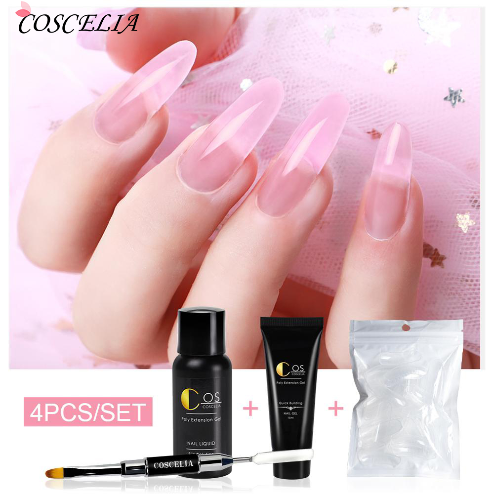 Poly Nail Extension Gel Kits Clear UV Gel Varnish French Nail Polish Quick Builder Crystal Slice Brush Nail