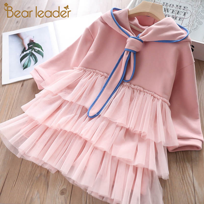 H7304432530884c8e9dad13e4a3617ad3M Bear Leader Girls Dress 2019 New Autumn Casual Ruffles A-Line Striped Full Sleeve Kids Dress For 3T-7T