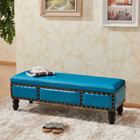 B Customized clothing store shoes bench solid wood fitting room storage stool dressing room long bench stool sofa bed bed stool