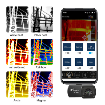 Chranto HT-101 telefon kamera termowizyjna do wykrywania termowizyjnego systemu Android typu C tanie i dobre opinie 1000KG TH-101 -20℃ to 300℃ 0℃ to 35℃ ±3℃ or 5 ℃ of reading -20℃ to 60℃ 0 1℃ or 0 1F° 8-14um 220*160