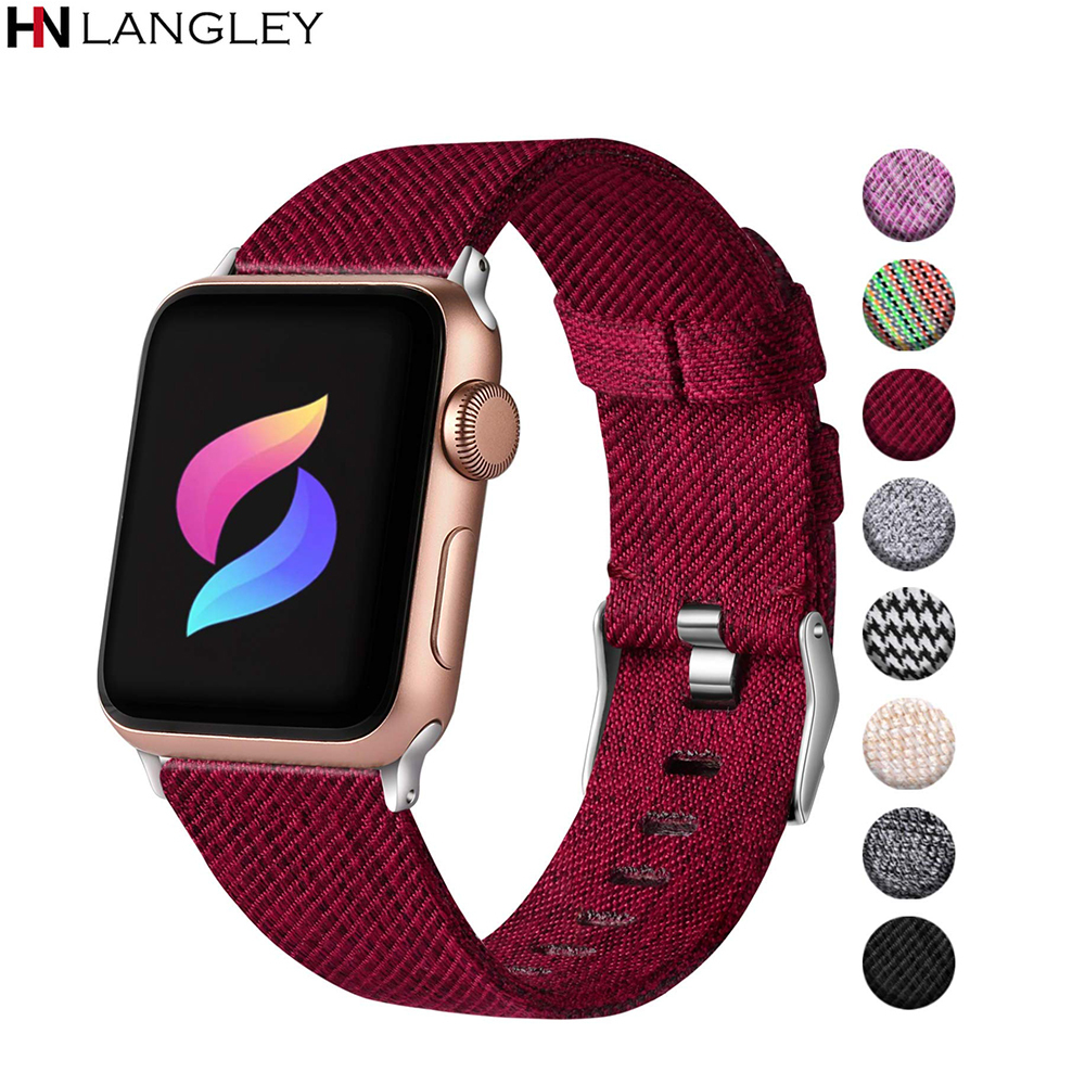 Woven Canvas Nylon Replacement Bands For Apple Watch Bands 38mm 42mm 40mm 44mm Premium Fabric Watch Straps For Iwatch 5 4 3 2 1