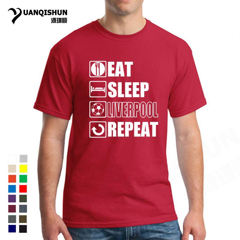 Eat Sleep Liverpool T-shirt Funny Footballer Fan Christmas Gift Top Fashion Design 16 Colors Cotton Short Sleeves Tops Tee 3XL