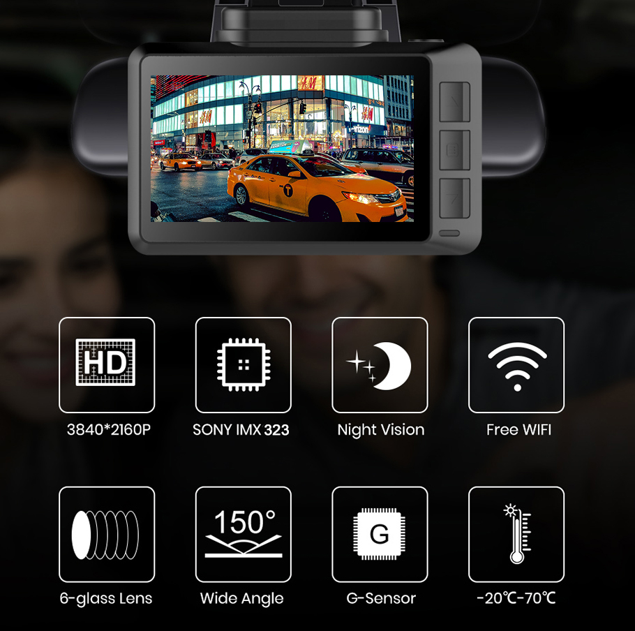 4K WIFI Dash Cam GPS Track Car DVR 3840*2160P 30FPS Ultra HDSuper Night Vision Camera Video Recorder Auto Phone Connection 2
