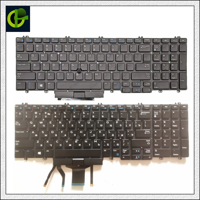 English / Russian Backlit original Keyboard for <font><b>Dell</b></font> Precision <font><b>3500</b></font> 3501 3540 3541 Latitude 5500 5501 2019 mmh7v laptop US image