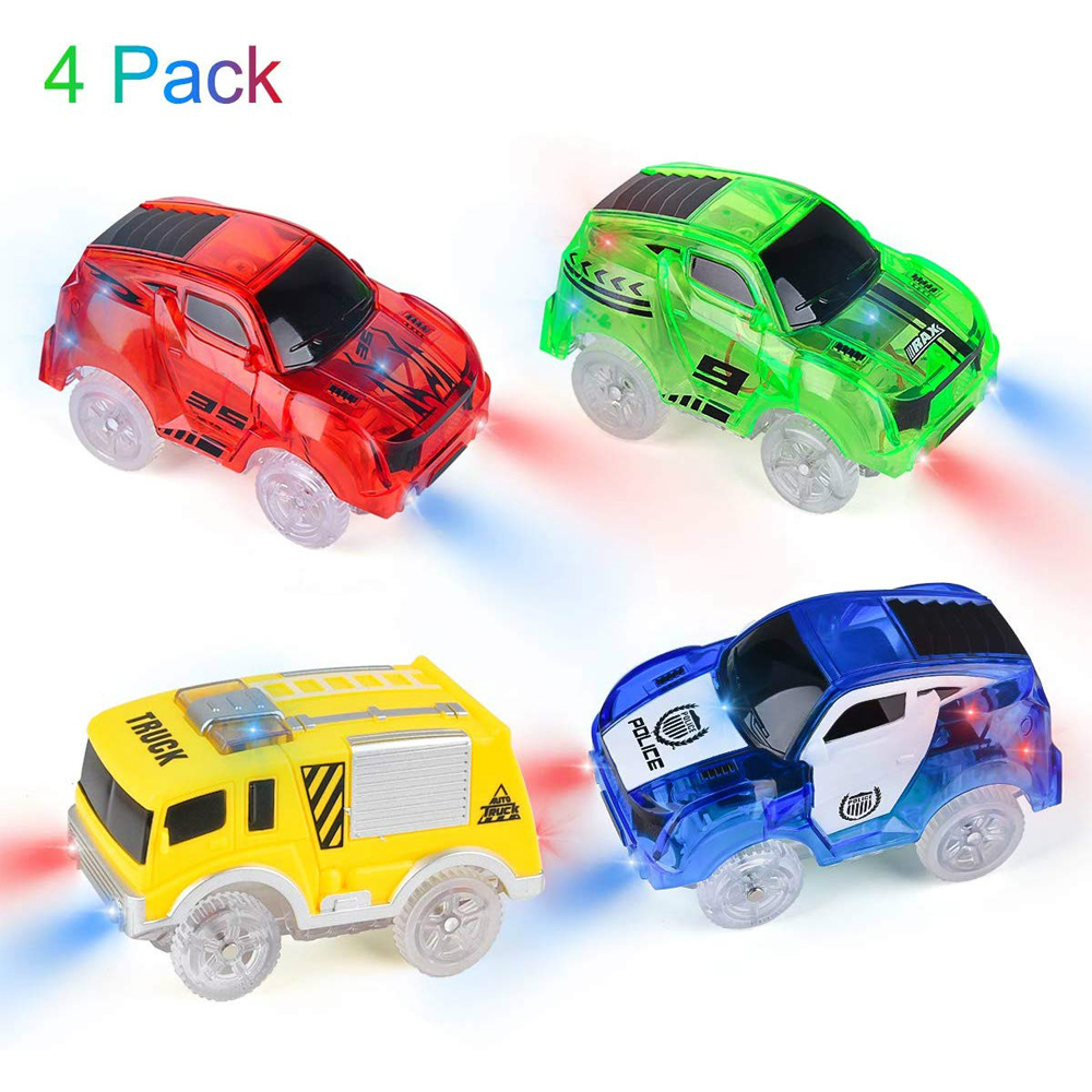Magical Track Cars Light Up Toy Cars With 5 LED Flashing Lights Racing Car Compatible With Most Racing Track Best Gifts For Boys