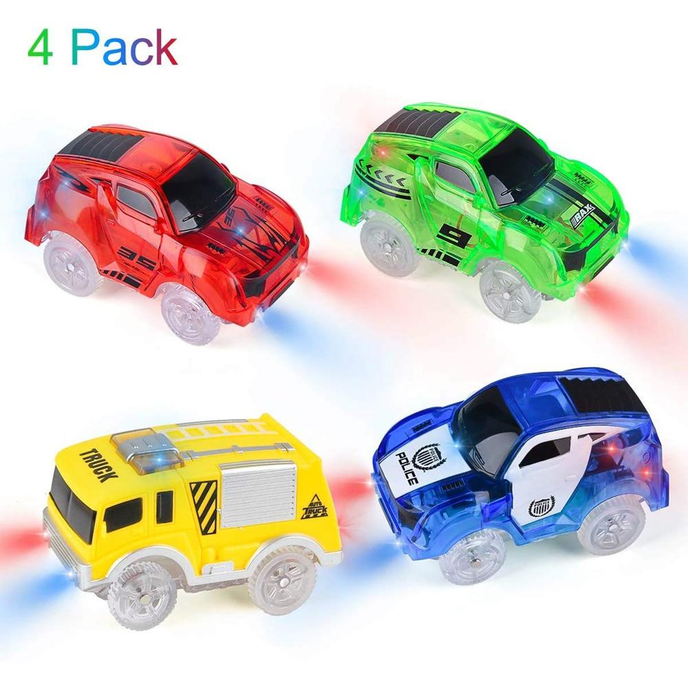 Волшебный трек, автомобили с подсветкой, игрушечные автомобили с 5 светодисветодиодный, гоночный автомобиль, совместимый с большинством го...