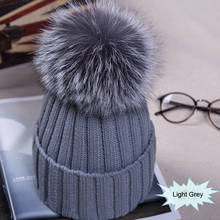 Winter NEW Women Pom Pom Beanies Warm Knitted Bobble Girl Fur Pompom Hats Real Raccoon Fur Pompon Casual Hat Cap(China)