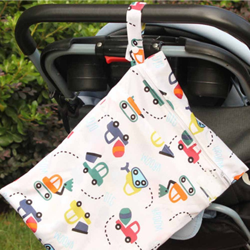Cute Cartoon Printed Baby Diaper Bag Waterproof Travel Maternity Double Layer Wet Dry Bags For Mommy Storage Stroller