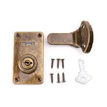 Odcień brązu skórzana walizka klamra pudełko Vintage metalowy zamek antyczny przełącz zatrzask zatrzask B85C