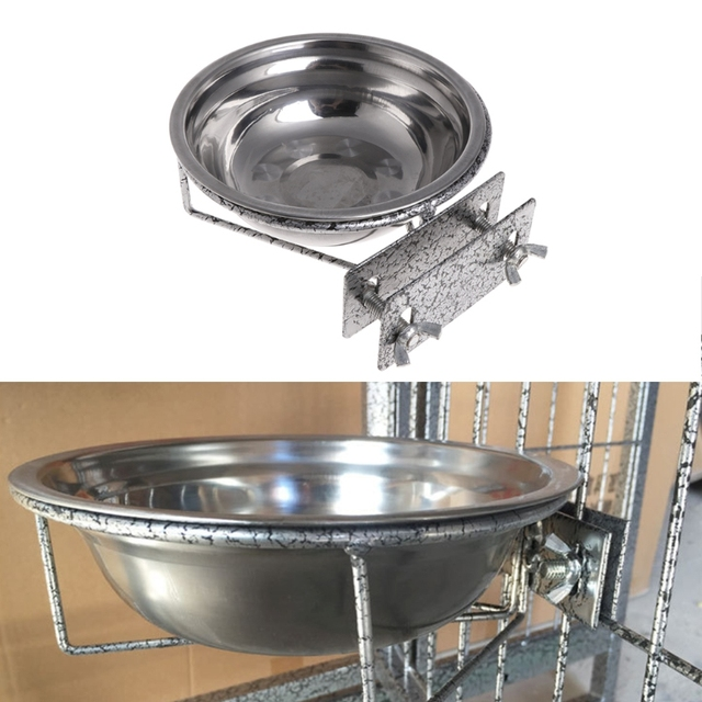 Pet Stainless Steel Coop Cup Food Water Bowl For Dog Parrot Bird Cage Crate