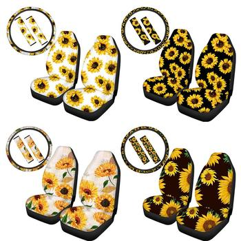 5PCS/SET Car Steering Wheel Cover with 2PCS Car Front Seat Covers 2PCS Sunflower Pattern Center Pad Covers Auto Accessories недорого