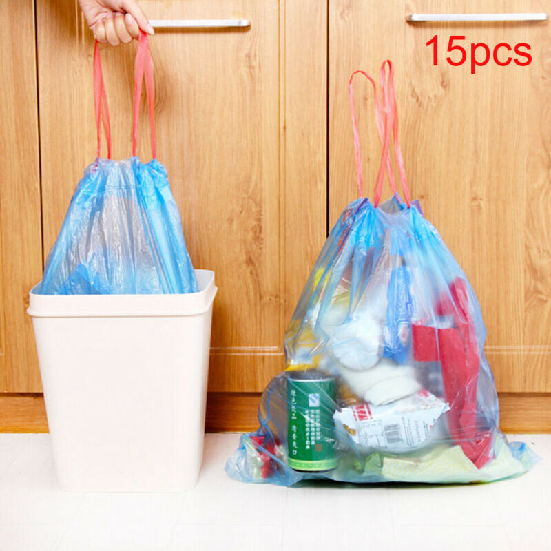 Drawstring Trash Bags Portable Garbage Household Disposable Kitchen Aaccessories Plastic Bag Garbage Bags PE Drawstring Handles