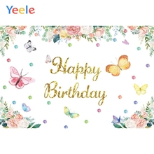 Baby Birthday Party Flower Butterfly Princess Girl Backdrop Photography Background For Photo Studio Vinyl Photophone Photocall colorful butterfly photography backdrops baby vinyl backdrop for photography camera fotografica background for photo studio